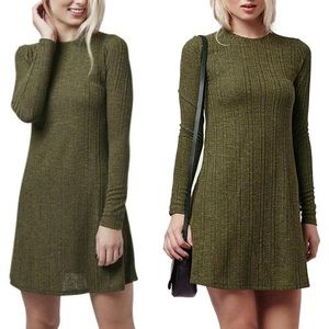 Topshop Long Sleeve Ribbed Dress Green